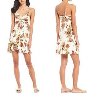 Free People Happy Heart Floral Ruched Mini Dress